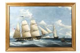 I. TUDGAY (19th c) TALL SHIP ALLIOTH