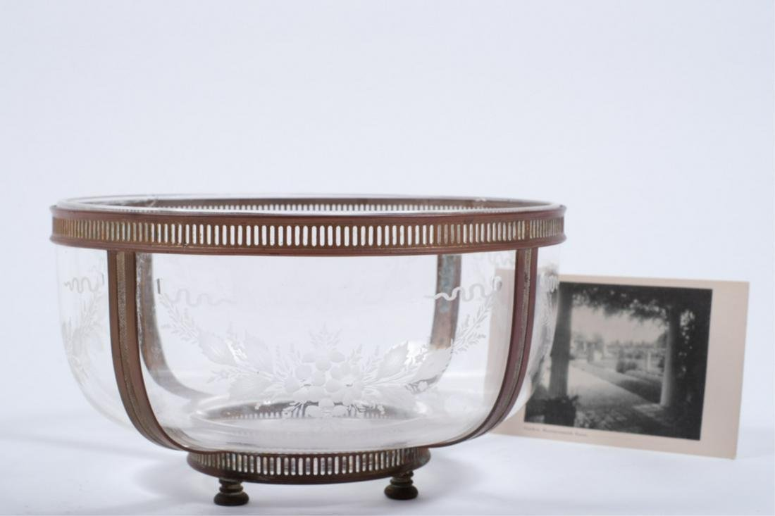 FLORAL ETCHED GLASS BOWL with BRONZE MOUNTS