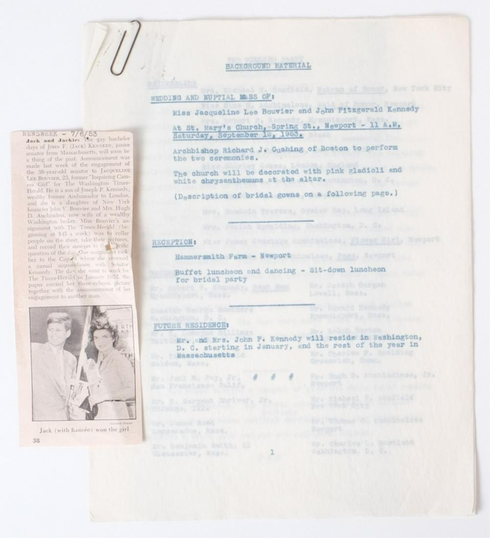 PRESS RELEASES FOR UPCOMING KENNEDY WEDDINGS