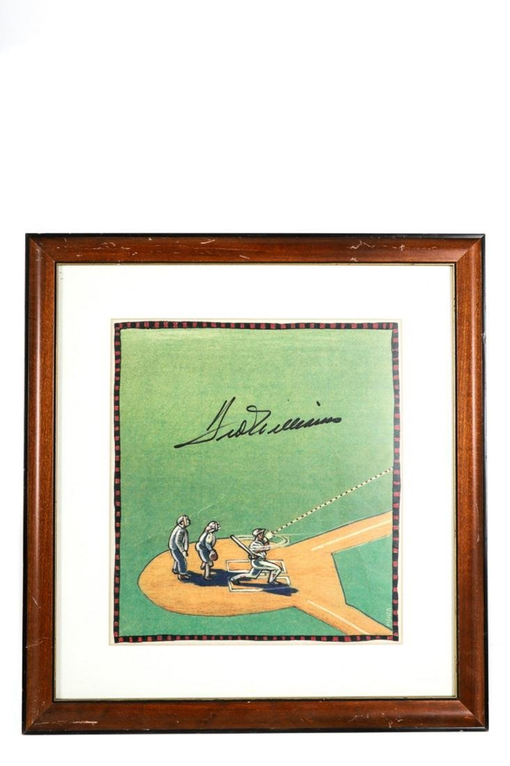 BOSTON RED SOX TED WILLIAMS SIGNED CARTOON