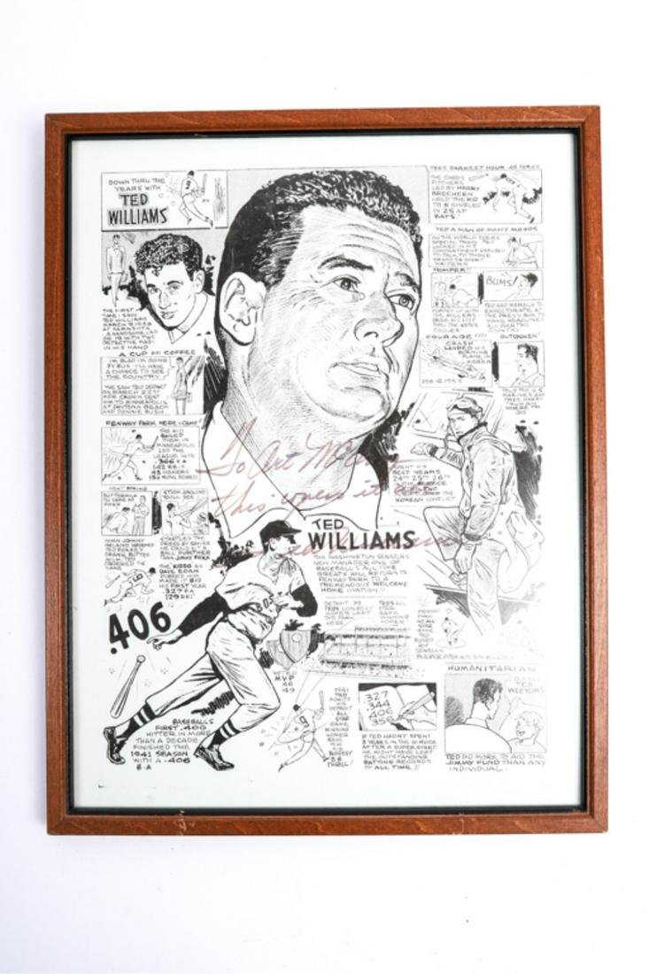 BOSTON RED SOX TED WILLIAMS SIGNED PRINT
