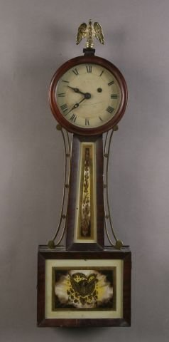 402: Federal Style Mahogany and Eglomise Banjo Clock