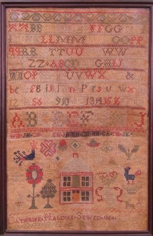 410: Framed 19th Century Needlework Sampler Dated 1864