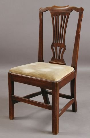 411: Chippendale walnut side chair
