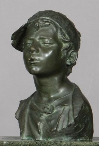 412: Bronze bust of a boy with cigarette signed Giovann