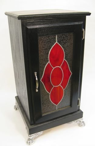 422: Oak cabinet with red leaded glass door