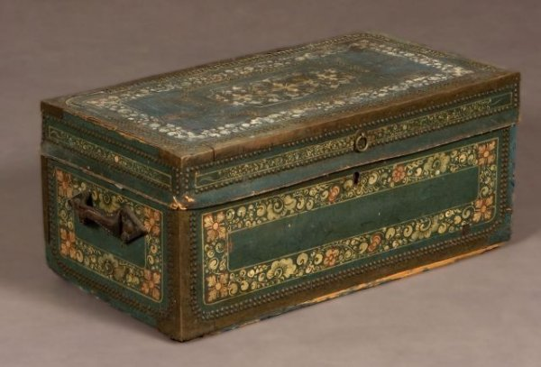 759: China trade brass bound camphor wood trunk