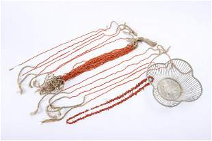 ASIAN SILVER WIRE BASKET & a GROUP of CORAL BEADS