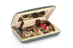 JEWELRY BOX w 14k GOLD BRACELET VICTORIAN etc