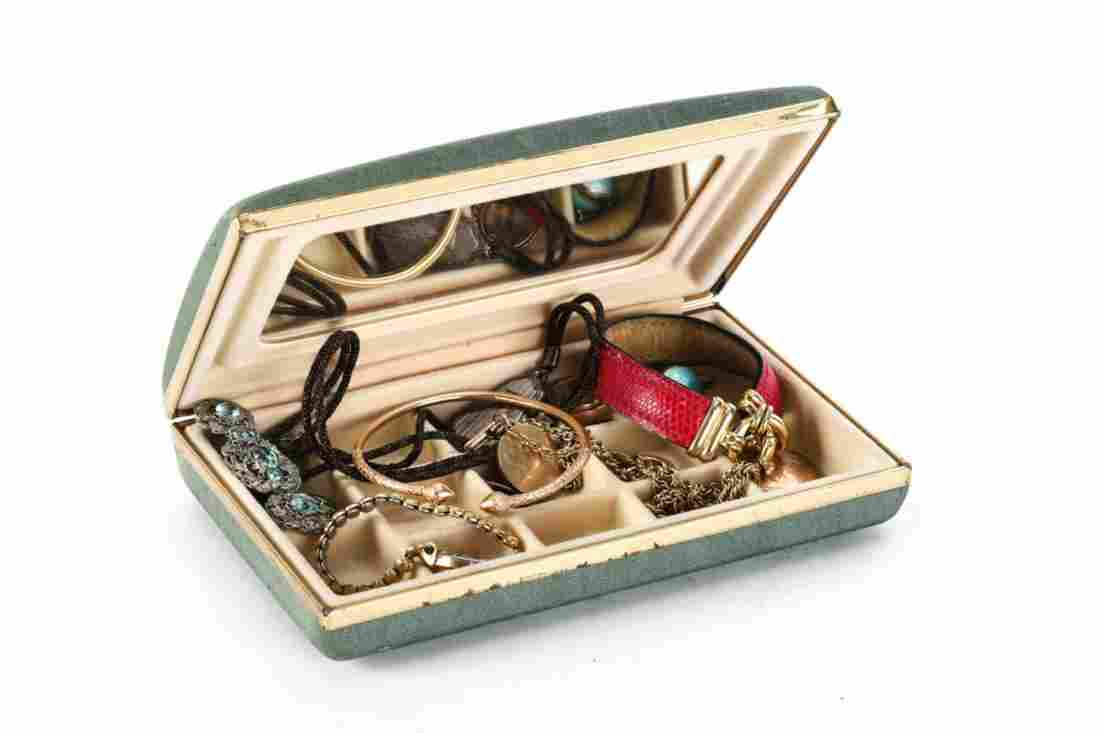 JEWELRY BOX w/ 14k GOLD BRACELET, VICTORIAN etc