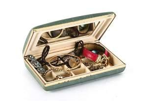 JEWELRY BOX w/ 14k GOLD BRACELET, VICTORIAN etc