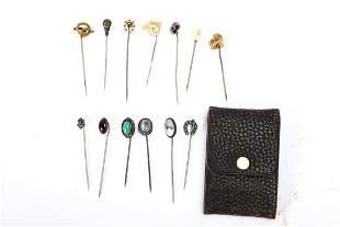 (13) ANTIQUE GOLD & HARD STONE STICK PINS