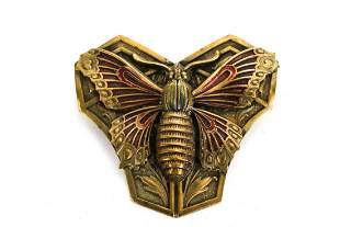 COLD PAINTED ART DECO BRASS BUTTERFLY BROOCH