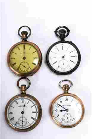 (4) GOLD FILLED POCKET WATCHES & (1) COIN