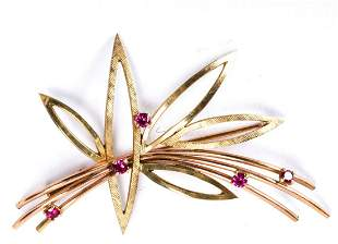 ROSE & YELLOW GOLD BROOCH set with PINK SAPPHIRES