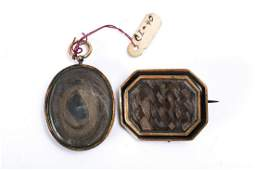 (19th c) GOLD FILLED MOURNING BROOCH & PENDANT