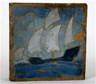 EXTREMELY RARE/ EARLY MARBLEHEAD POTTERY TILE