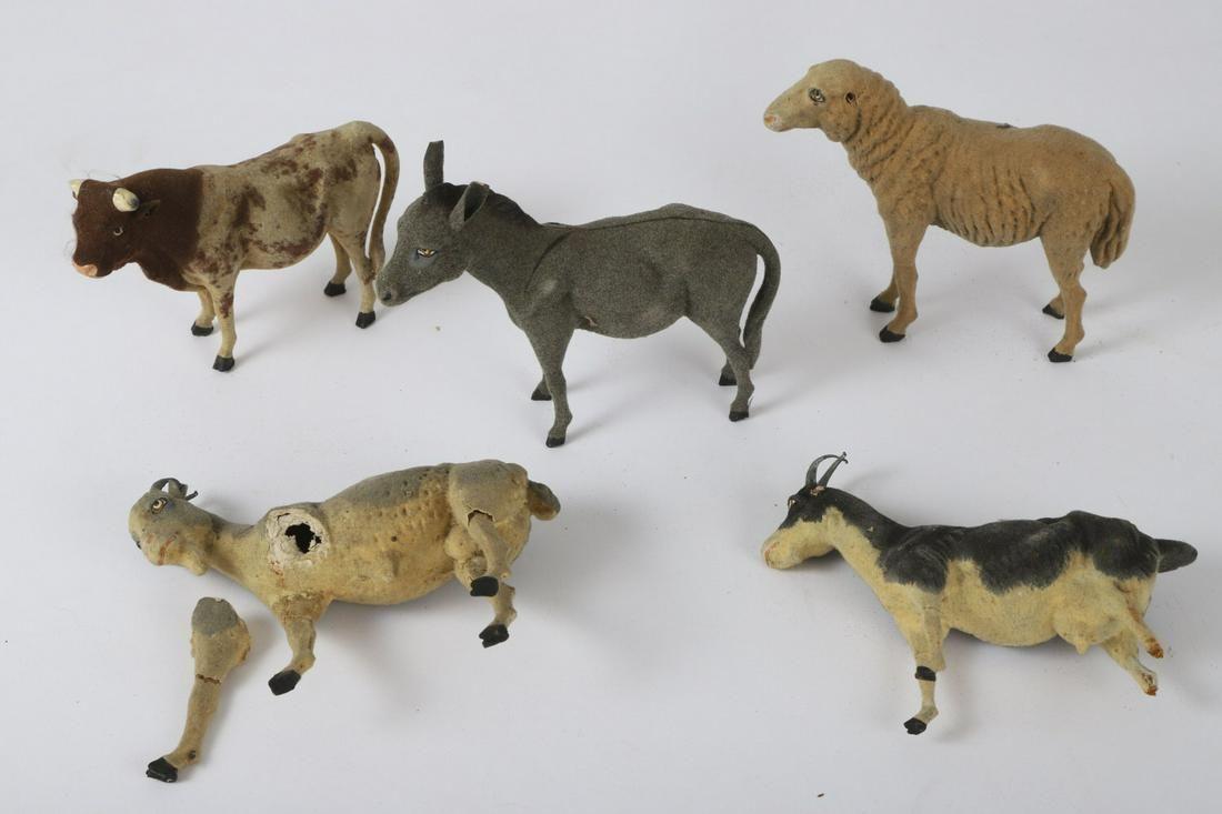(5) GERMAN PAPER MACHE FARM ANIMALS
