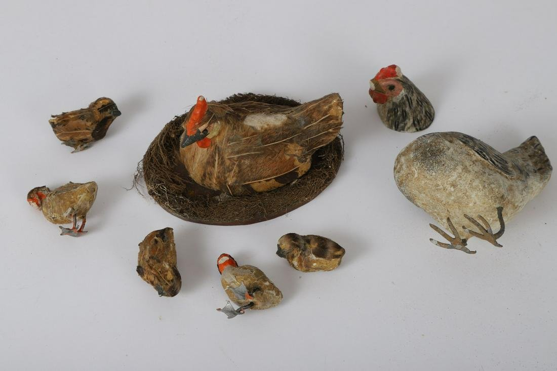 (7) GERMAN PAPER MACHE HENS AND CHICKS