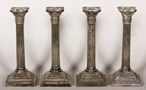 3: Set of four silver plated Gorham candlesticks