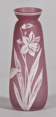 58: Thomas Webb & Son art glass cameo vase in rose pink