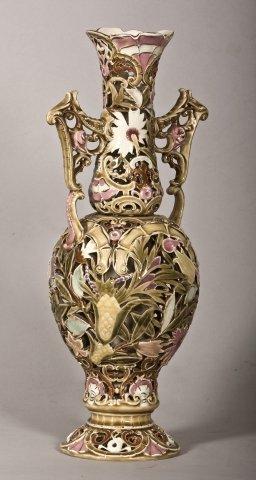 119: 19th Century Zsolnay Morish Style Porcelain Vase.