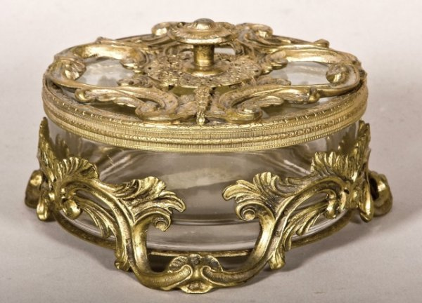 121: French glass and gilt metal covered dresser box