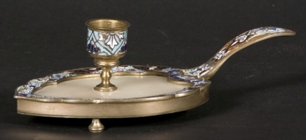 122: Tiffany gilt bronze champleve chamber stick