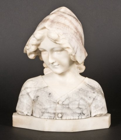 123: Continental carved alabaster bust of maiden