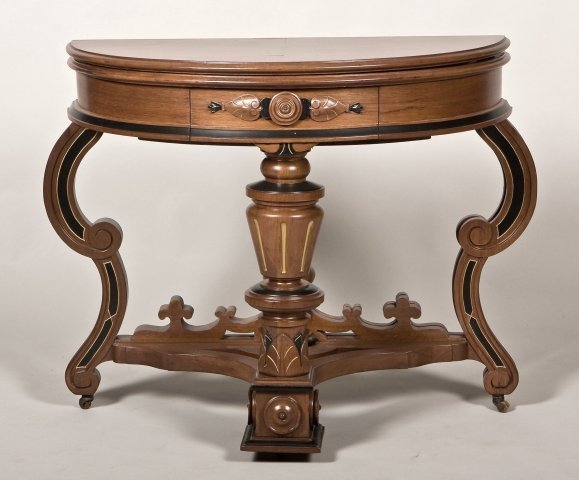 127: American Renaissance revival carved ebonized and m