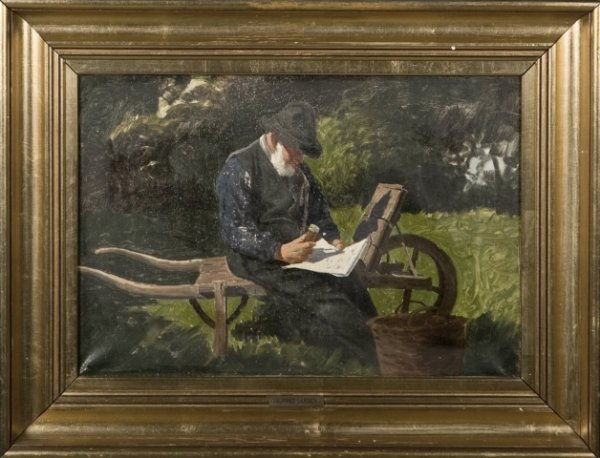 129: Alfred Larsen (1860-1916) Reading the paper