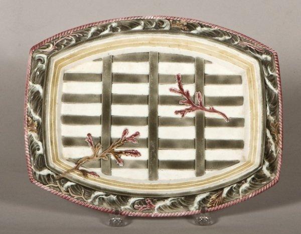 138: English majolica rectangular tray