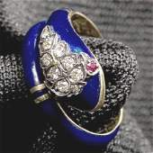 647 French ladys 18k gold and cobalt blue enamel ring