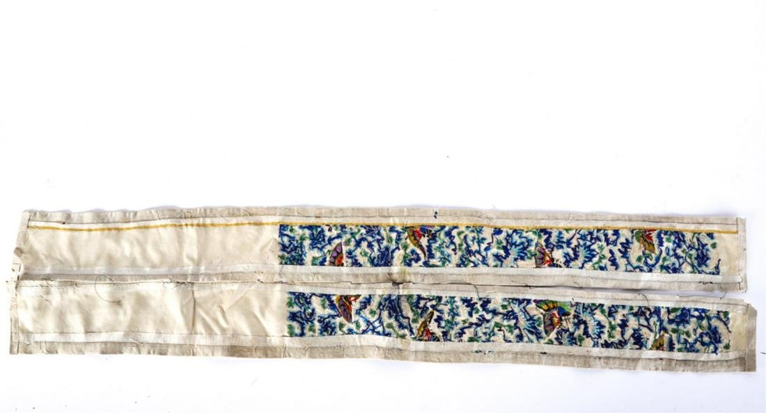PAIR of CHINESE SILK EMBROIDERED ROBE BANDS