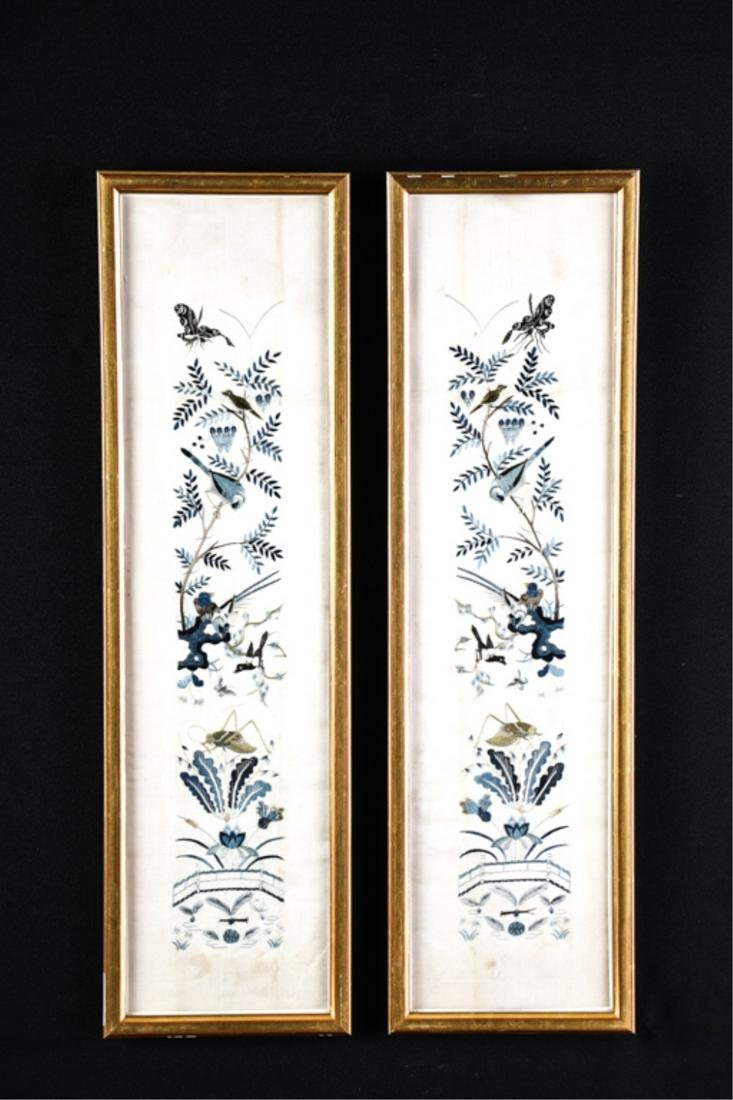 ANTIQUE PAIR OF CHINESE SILK EMBROIDERIES