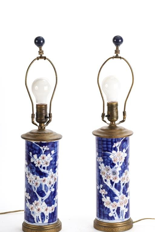 PAIR OF ASIAN PORCELAIN TABLE LAMPS