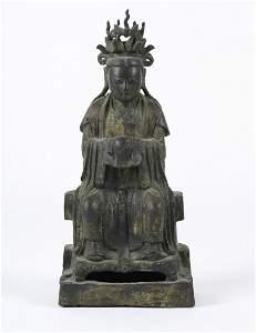 EARLY CHINESE GILT BRONZE BUDDHA