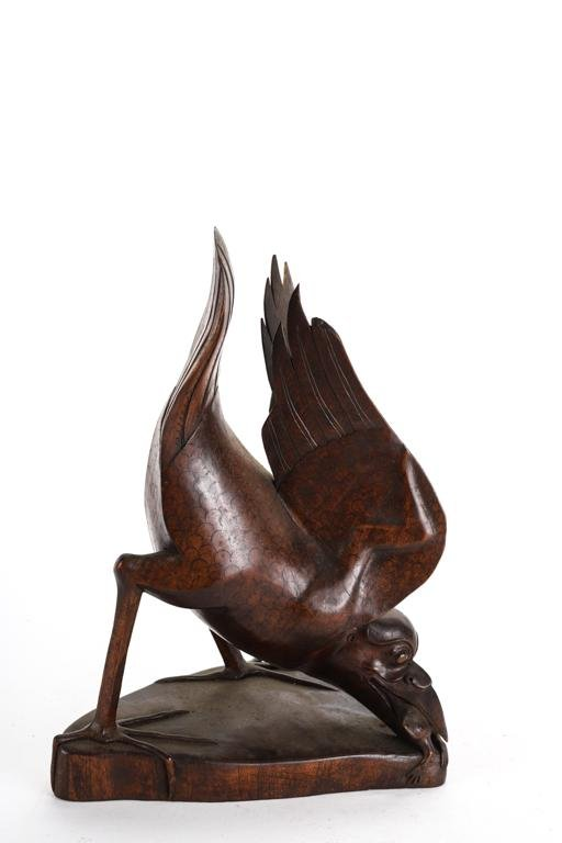 EXOTIC ASIAN CARVED HARDWOOD SCULPTURE OF BIRD