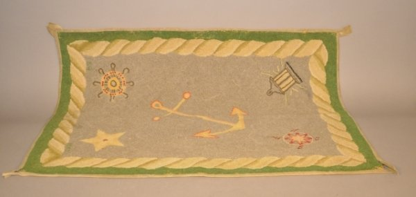 2: 1920's hooked area rug with nautical motif