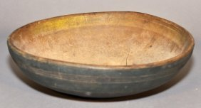 18th Century American Turned Wooden Bowl With Green