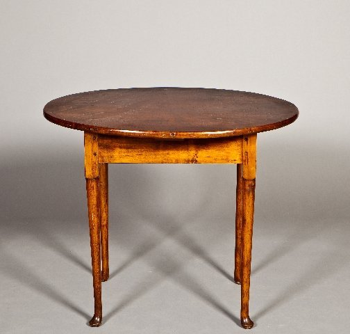 4: 18th century oval Queen Anne maple tea table with pa