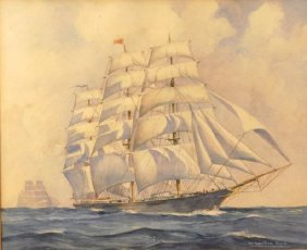 American School (20th Century) The Tall Ship, Signed
