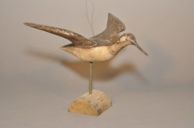 20th Century Carved And Painted Folk Shorebird In F