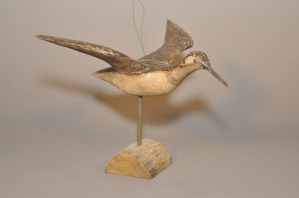 14: 20th century carved and painted folk shorebird in f