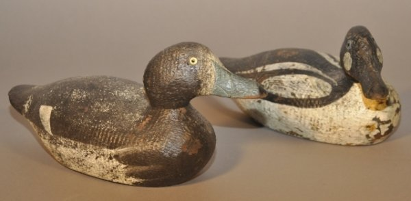 17: Two early 1920's factory carved and painted duck de