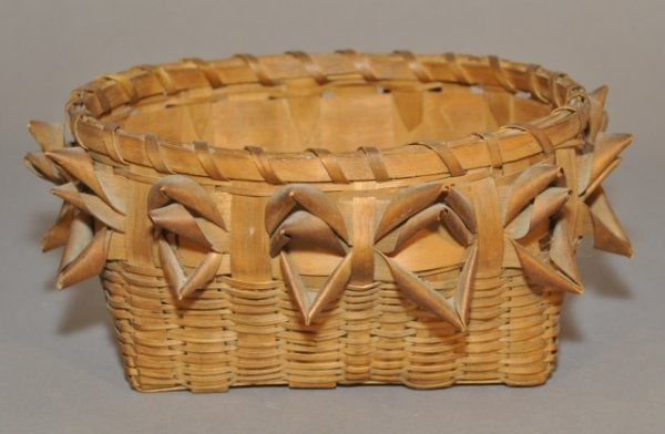 19: Oval Indian splint sewing basket c. 1890. Length: 1