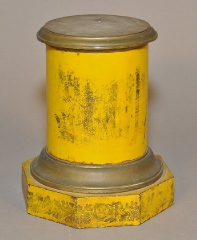 20: Early yellow painted tin pedestal with Towle decora
