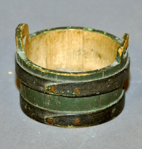 21: Miniature two handled green painted bucket