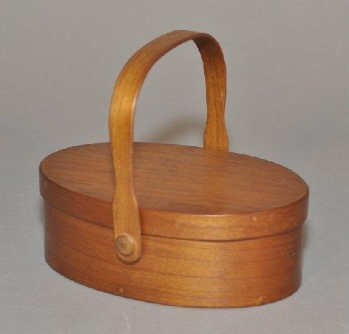 22: Shaker cherry and pine swing handle sewing box