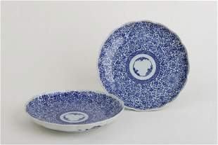 PAIR OF CHINESE BLUE & WHITE PORCELAIN PLATES